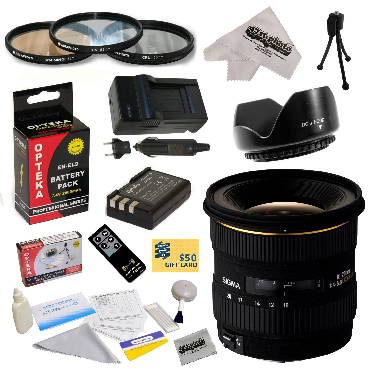 Sigma 10-20mm f/4-5.6 EX DC HSM Autofocus Lens for Nikon D40 D40x D60 with 77MM 3 Piece Filter Kit, EN-EL9 2000MAH, Charger, Remote Control, Cleaning Kit, Microfiber Cloth