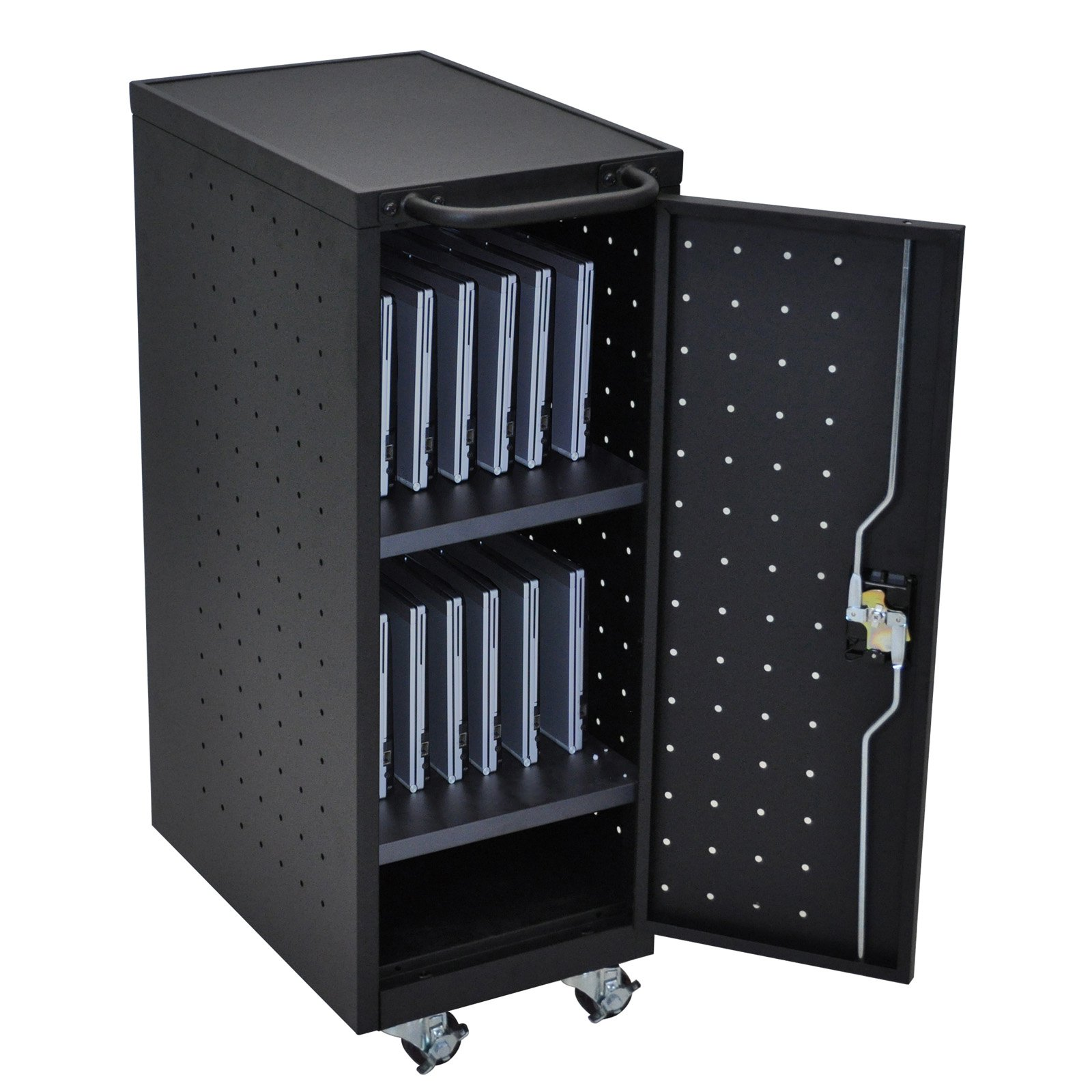 Luxor 12-Tablet/Chromebook Charging Cart with 12-Outlet 120V/15A Vertical Power Strip