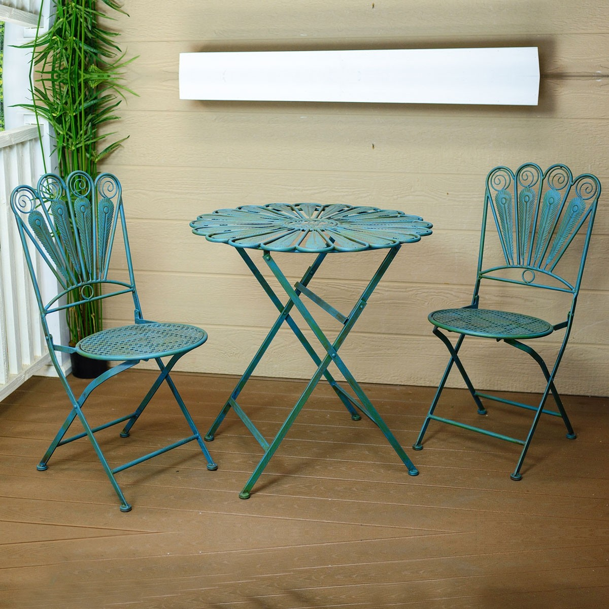 Alpine Metal Peacock Feather Garden Furniture Patio Bistro Set, 1 Table and 2 Chairs, 30 Inch Tall