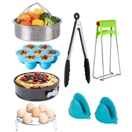 Instant Pot Accessories Set 8 Pcs Fits Instant Pot 5 6 8QT with Steamer Basket/Egg Steamer Rack/Egg Bites Molds/Non-stick Springform Pan/Silicone Pot Mitts/Kitchen Tongs/Bowl Clip,Best Gift Idea