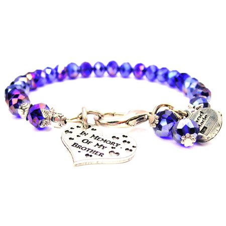 In Memory Of My Brother Splash Of Color Crystal Bracelet in Sapphire Blue , Fits 7.5