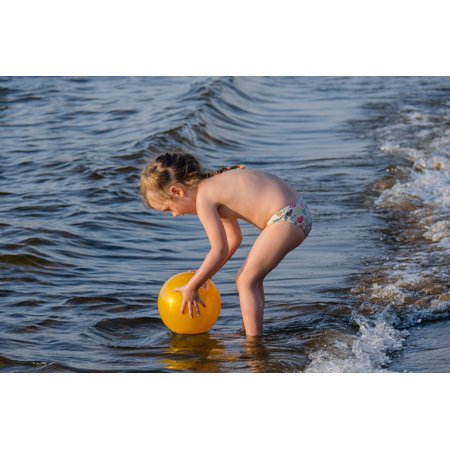 Laminated Poster Kids River Sandy Beach Girl Wave Game Beach Kid Poster Print 11 x 17 ()