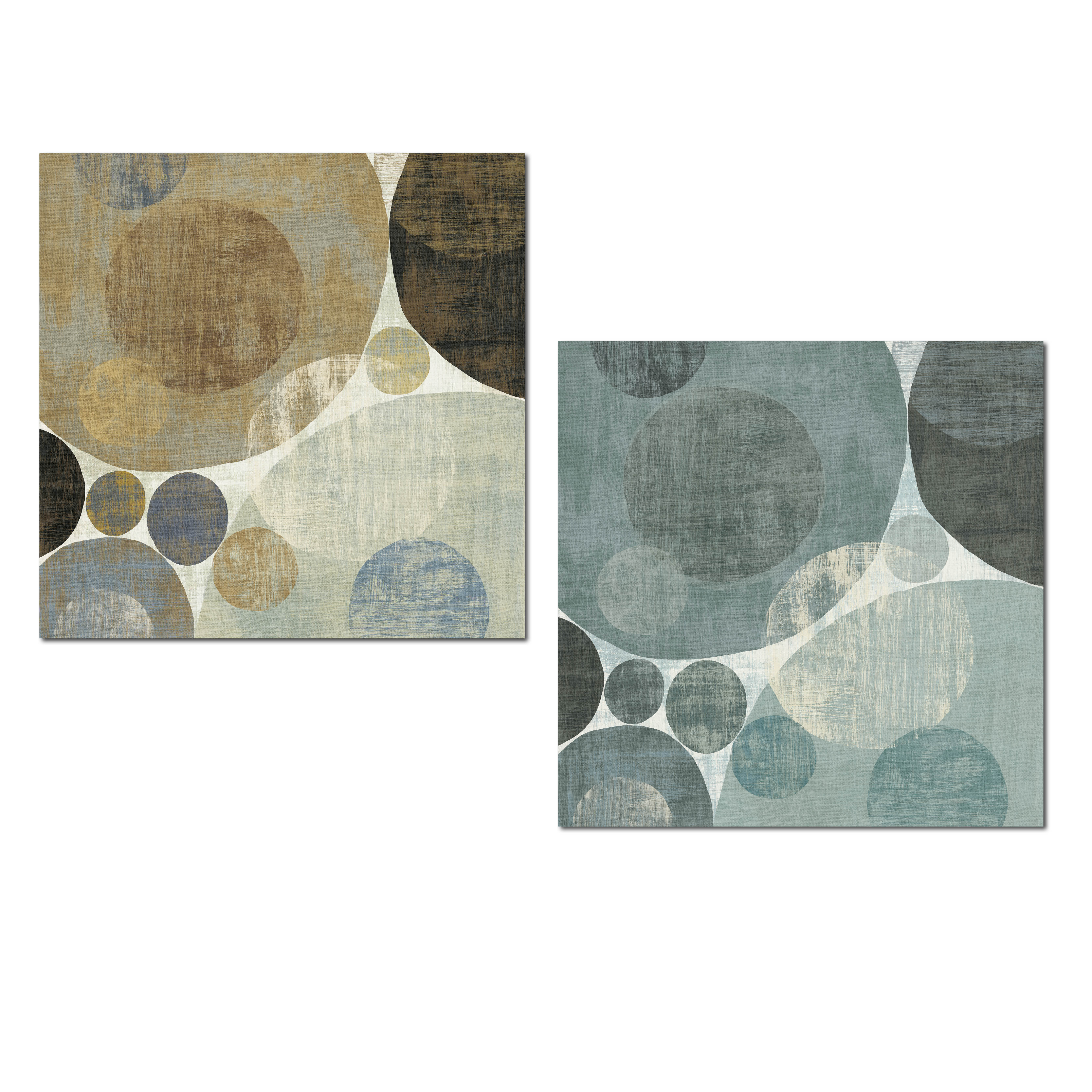Lovely Blue and Brown Abstract Circle Patterned Set by Michael Mullan; Two 12x12in Unframed Paper Posters