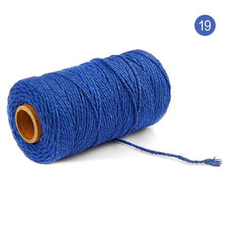 Tuscom 100m Long/100Yard Pure Cotton Twisted Cord Rope Crafts Macrame Artisan String Blue Silk Cord