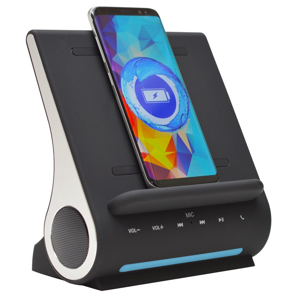 Refurbished Azpen D100 Wireless Charging Station With Multiple USB Ports + Bluetooth Speaker