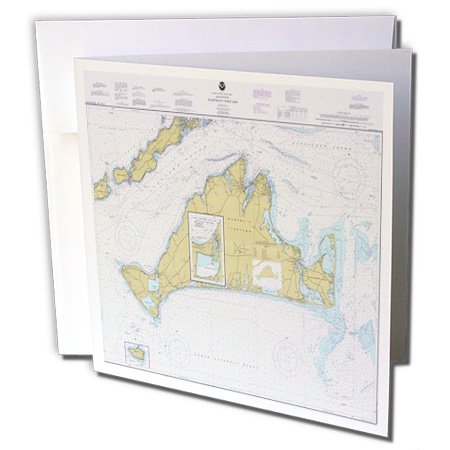 3dRose Print of Nautical Map Of Marthas Vineyard - Greeting Cards, 6 by 6-inches, set of (Halloween Parties Martha's Vineyard)