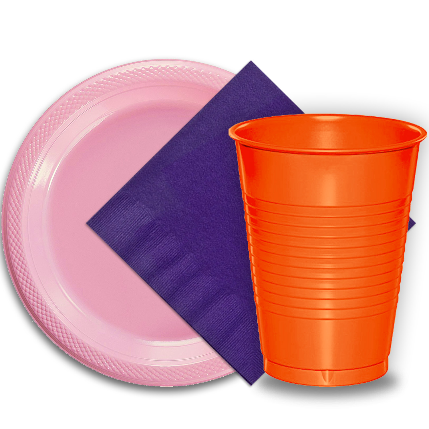 "50 Pink Plastic Plates (9""), 50 Orange Plastic Cups (12 oz.), and 50 Purple Paper Napkins, Dazzelling Colored Disposable Party Supplies Tableware Set for Fifty Guests."