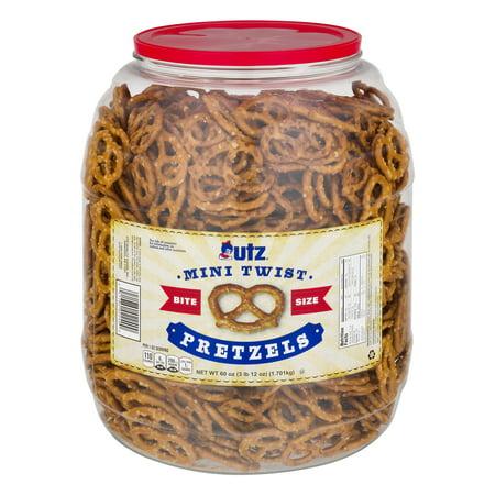 Gourmet Mini Pretzels - Utz Pretzels, Mini Twists 60 oz. Barrel