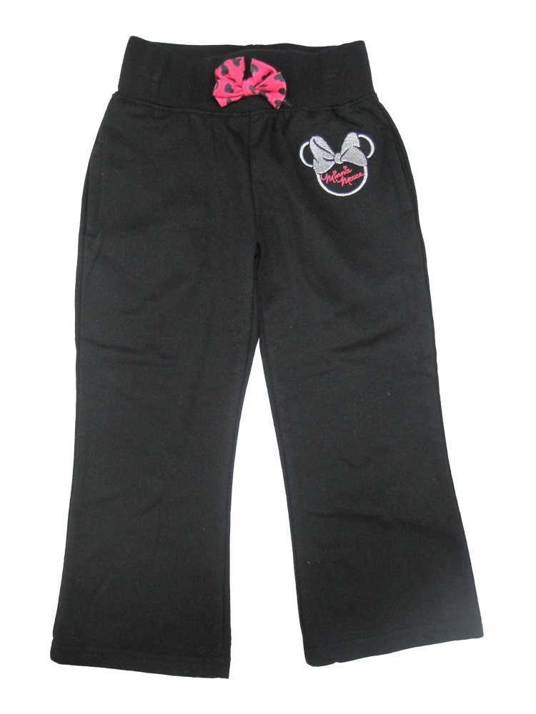 Little Girls Black Minnie Mouse Logo Bow Attached Sweat Pants 2-4T