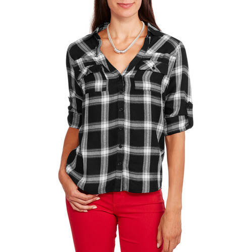 Brooke Leigh Women's Rolled Sleeve Front Pocket Plaid Shirt