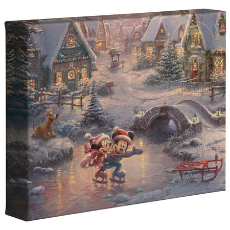 "Thomas Kinkade Mickey and Minnie Sweetheart Holiday - 8"" x 10"" Gallery Wrapped Canvas"