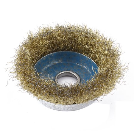 - Steel Circular Coarse Crimped Wire Wheel Cup Brush 9cm Diameter Brass Tone