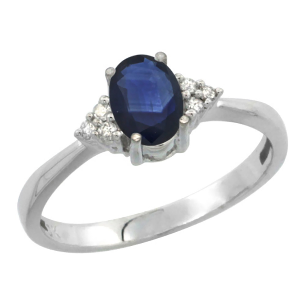 10K White Gold Diamond Natural Blue Sapphire Engagement Ring Oval 7x5mm, sizes 5-10 by WorldJewels