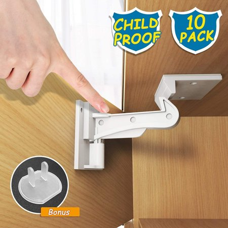 Child Safety Cabinet Locks, ABLEGRID Newest Version Heavy Duty Drawer Locks Baby Proof No Drill Child Proof Cabinet Latch Baby Safety Locks for Cabinet Drawer 10
