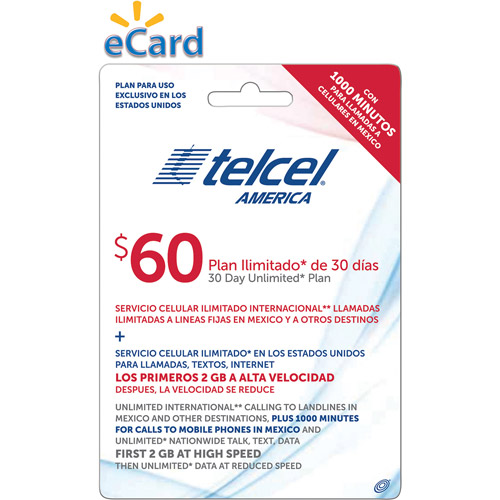 TelCel Direct Load $60 (Email Delivery)