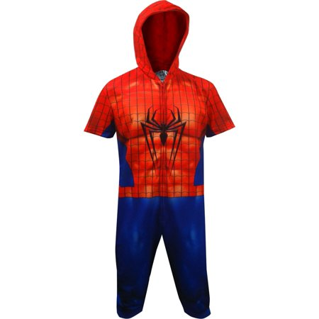 Spiderman Cropped Hooded Union Suit One Piece Pajama