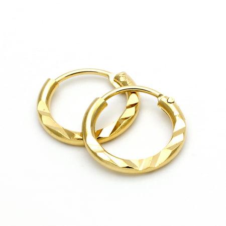 Gold-Tone Ladies Circle Diamond Cut Design and Children Hoop Earrings (12mm x 1.62mm) 9 Cut Design Earrings