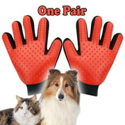 Pet Grooming Gloves Brush Dog Cat Hair Remover Mitt Massage Deshedding 1 Pair Red