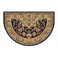 46'' x 31'' Black & Beige Kashan Hearth Rug