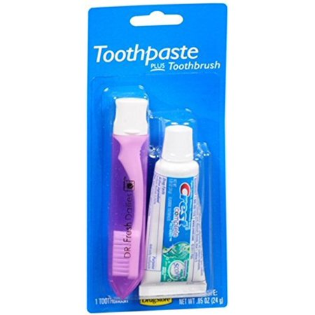 8 Pack Crest Trial & Travel Size Toothpaste + Toothbrush Kit 0.85 Ounce Tube (Trial Toothpaste)