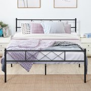 Queen Size Platform Bed Frame Fluted Design Fix Mattress,Optional for Box Spring Need,with Storage Space,Headboard Footboard,Slats Support,