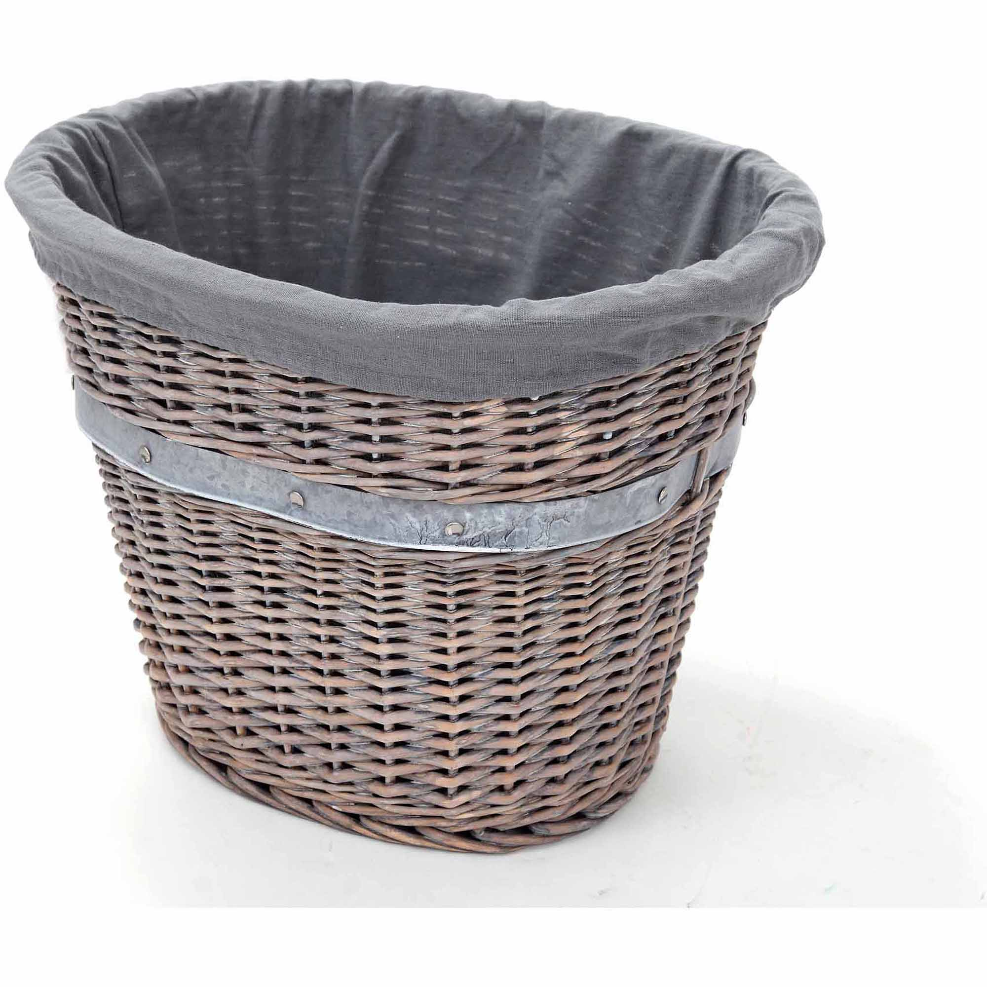 Better Homes and Gardens Large Willow Oval Basket, Grey