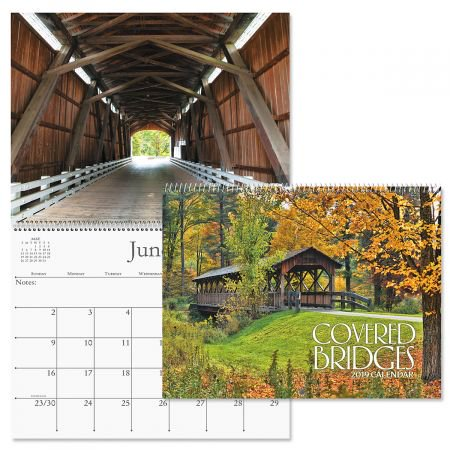 """2019 Covered Bridges Wall Calendar - 12"""" x 9"""" (closed), bookstore quality, spiral bound"""