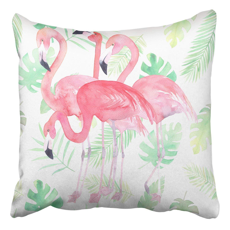 WOPOP Watercolor Pattern Flamingo Tropic Leaves Pillowcase Cover Cushion 18x18 inch