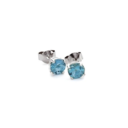 iParis Sterling Silver 4 Ct Round Blue Sapphire Stud Earrings 4mm Sapphire Stud Earrings