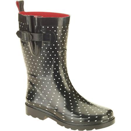 Women's Diamond Dot Printed Mid-Calf Rubber Rain (Topaz Womens Boots)