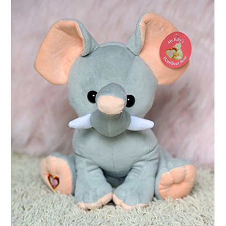 "My Baby's Heartbeat Bear - Giant Elephant Stuffed Animal w/ 20 sec Voice Recorder - Lil 8"" Elephant - image 4 of 4"