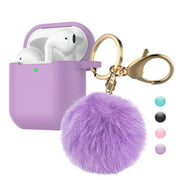 Airpods Case Silicone, Airpods 1st Case Fur Ball, Njjex Cute AirPods Silicon Case with Airpods Accessories Gold Keychain/Skin/Pompom (Front LED Visible) -Purple
