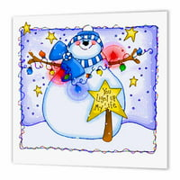 3dRose Christmas snowman greets you and your guests , Iron On Heat Transfer, 10 by 10-inch, For White Material