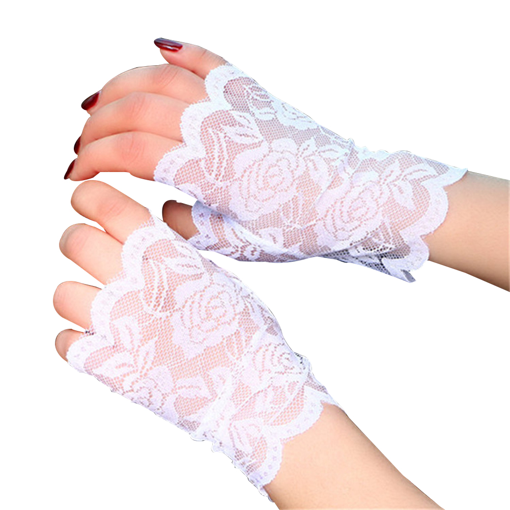 Pair Women Half Hand Short Gloves UV Protection Fingerless Gloves Sun Block for Driving (White)