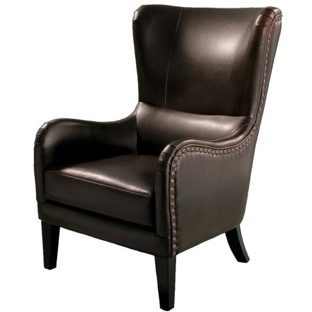 Amhearst Bonded Leather Studded Club Chair