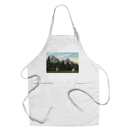 Glacier National Park  Montana   View Of A Blackfoot Camp On Cut Bank Creek  Cotton Polyester Chefs Apron