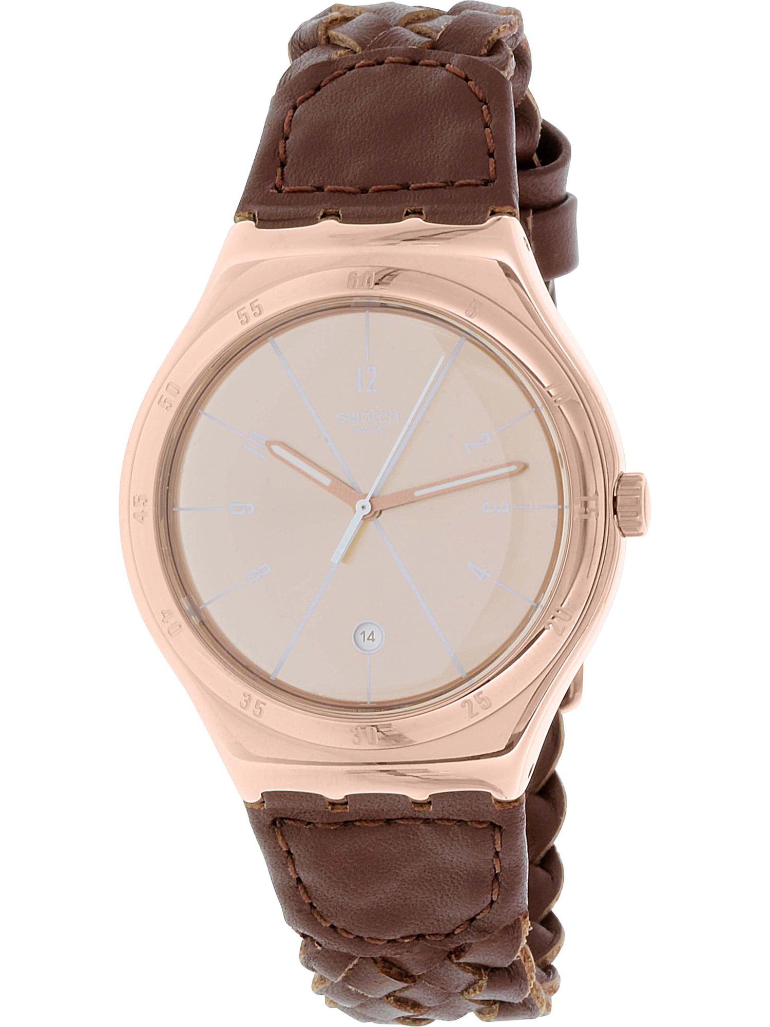 Swatch Men's Irony YWG402 Brown Leather Swiss Quartz Fashion Watch