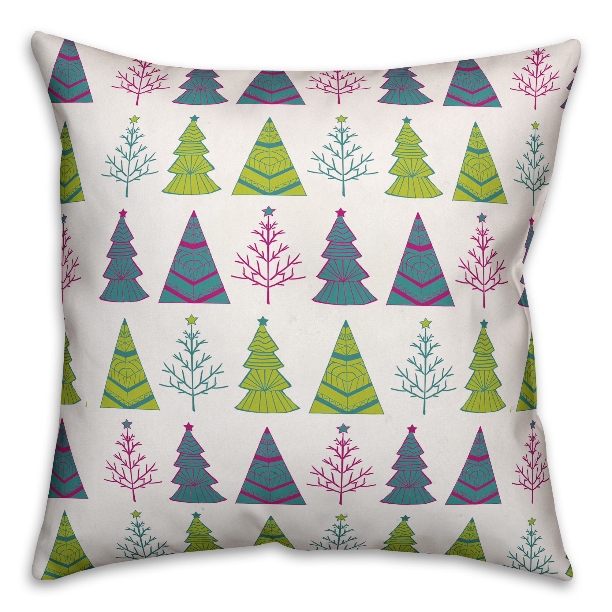 Christmas Tree Pattern 16x16 Spun Poly Pillow