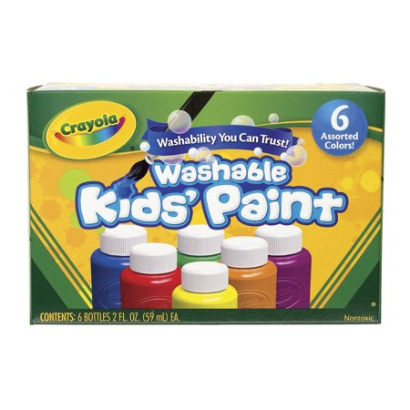 Grey 2 Oz Americana Paint (Crayola 6 Count Washable Kids Paint In 2 Oz)