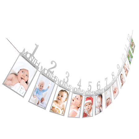 Mosunx Kids Birthday Gift Decorations 1-12 Month Photo Banner Monthly Photo Wall