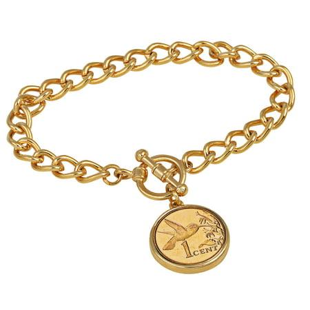 24KT Gold Plated Hummingbird Coin Goldtone Toggle Bracelet