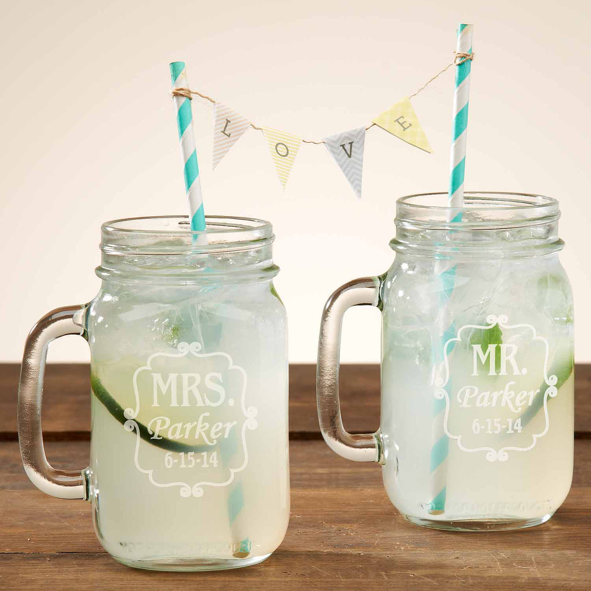 Personalized Mr. and Mrs. Mason Drinking Jar, Set of 2