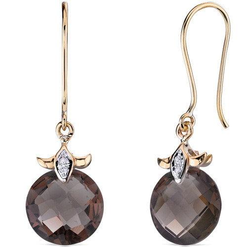 Oravo 10 Karat Two Tone Gold 7.00 carat Checkerboard Cut Smoky Quartz Diamond Earrings (0.02 carat Stone)