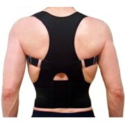 Posture Correction and Back Pain Support Fully Adjustable Back Brace Belt Neoprene EBP Medical  Unisex Black (Pick a size XS to 3XL)