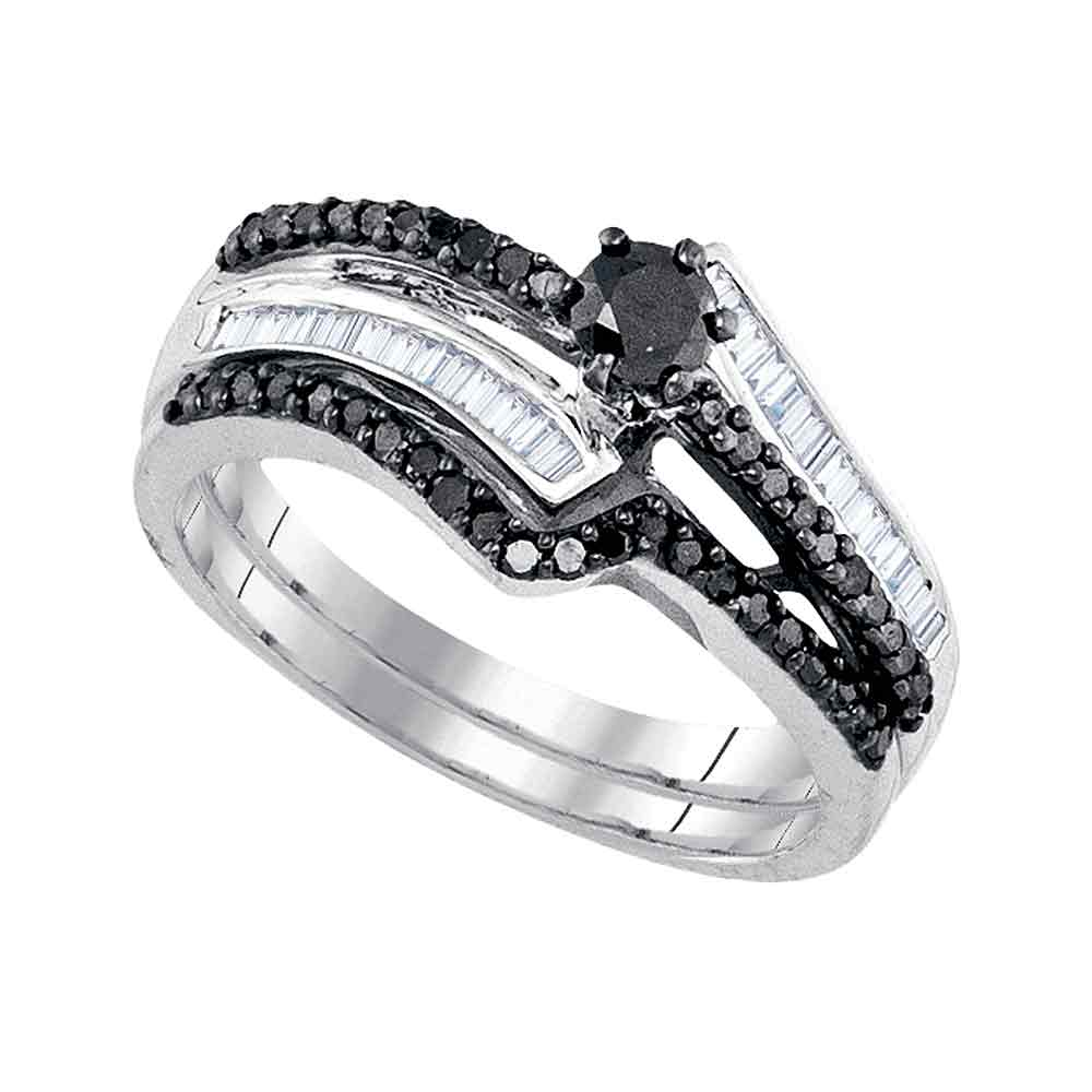 Sterling Silver Womens Round Black Colored Diamond Bridal...
