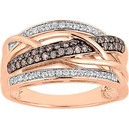 1/2 Carat T.W. Champagne and White Diamond 10kt Rose Gold Woven Fashion Ring