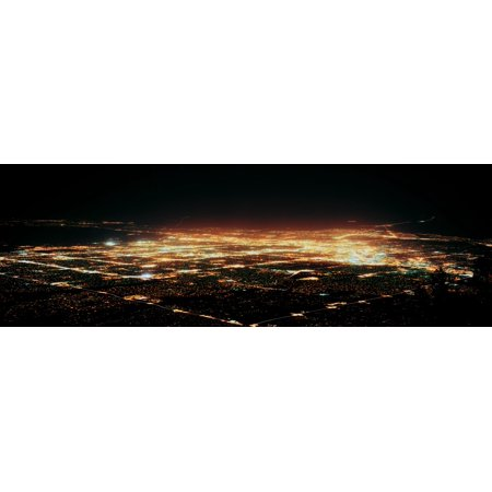 Aerial view of buildings at night in a city Albuquerque New Mexico USA Canvas Art - Panoramic Images (12 x (Albuquerque New Mexico Mall)