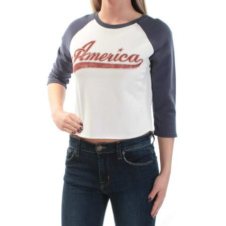 RALPH LAUREN Womens White America Raglan Jewel Neck Top Size: L