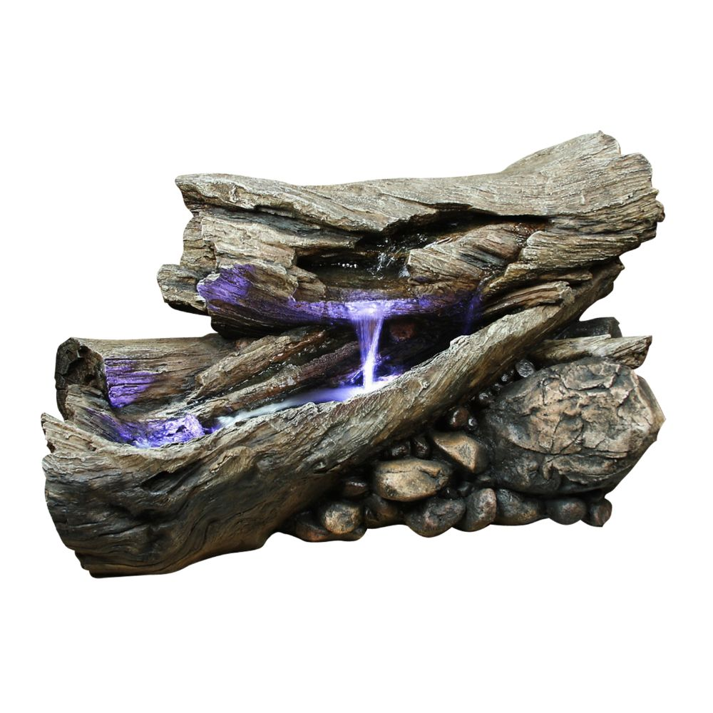 Alpine Rain Forest Waterfall Logs Fountain with LED Lights, 24 Inch Tall by Alpine Corporation