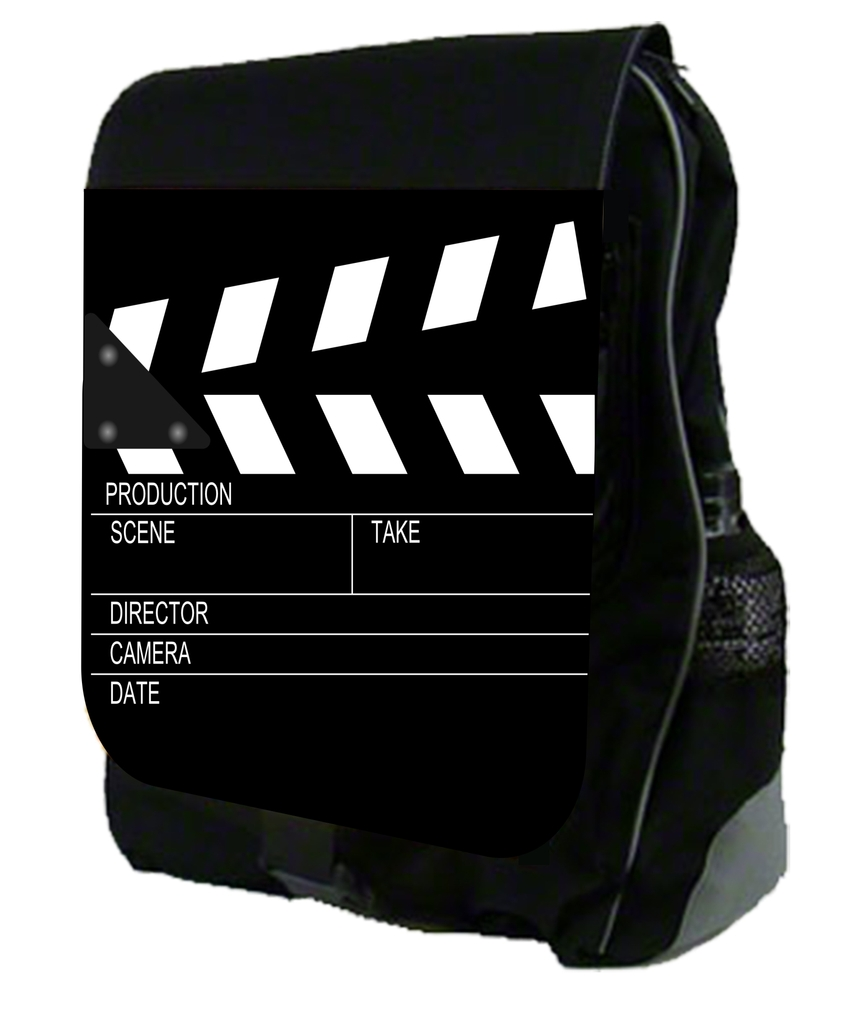 Movie Clapperboard Design Black School Backpack by Accessory Avenue